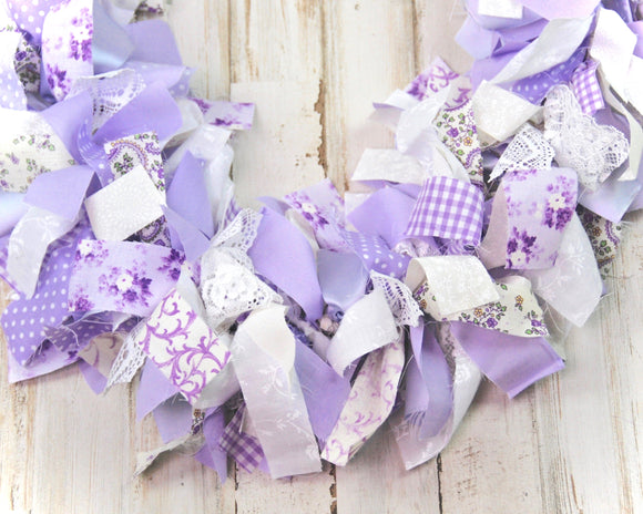 Handmade floral lavender fabric garland