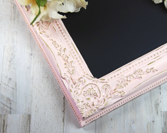 Pink chalkboard, Pink and gold framed message board, Ornate wall decor, Distressed shabby chic, Farmhouse chic decorations, Wedding decor, Spring decorations, Dorm decor, JaBella Designs, Home decor
