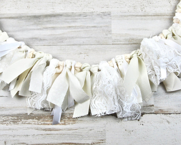 Miniature banner, Fabric rag tie garland, Shabby chic nursery decor, Hospital door decorations, Cottage chic, Ivory, Antique white, White, Lace, Handmade, Made in the USA, JaBella Designs