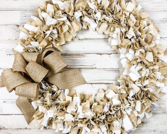 Brown and white fabric wreath, Rustic farmhouse rag tie wreaths, Neutral wreath decor, Made in the USA, JaBella Designs