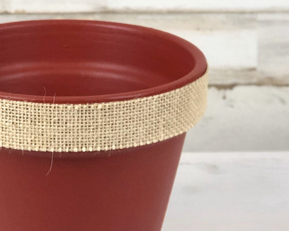 Red flower pots, Burlap, Country Christmas, JaBella Designs, Made in the USA, Planters, Holiday decorations