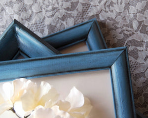 Nautical blue hand-painted vintage picture frame set