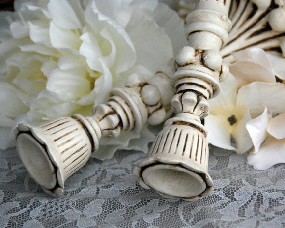 Shabby cottage chic antique white ornate candlesticks for the home