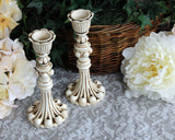 Ornate small hand-painted antique white candlestick holder set home decor