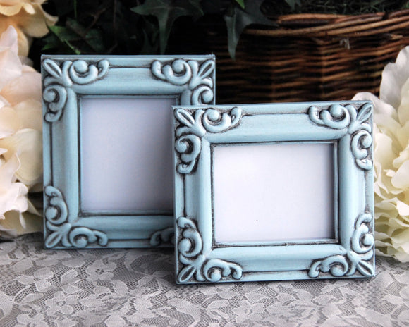 Hand-painted small light blue photo frame set