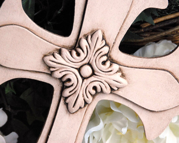 Blush pink vintage style embellished wooden wall cross for the Christian home