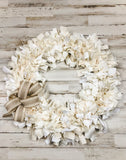 Antique white & ivory farmhouse rag wreath