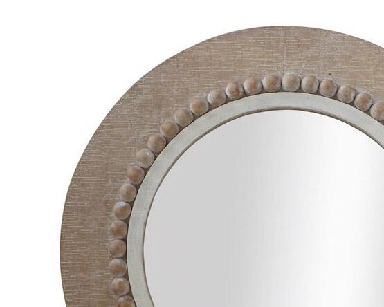Weathered Brown Coastal Farmhouse Round Wooden Mirror Home Decor Jabella Designs