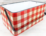 Antiqued red buffalo check metal container