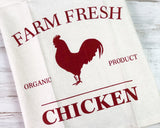 Farm Fresh Organic Chicken tea towels, Red rooster hand towel, Neutral and red decor, Country style kitchen, Farmhouse decor, JaBella Designs, Country door