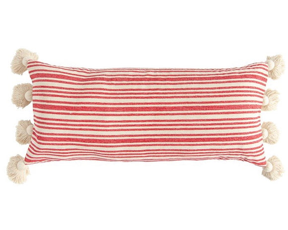Red & tan striped long decorative tassel pillow