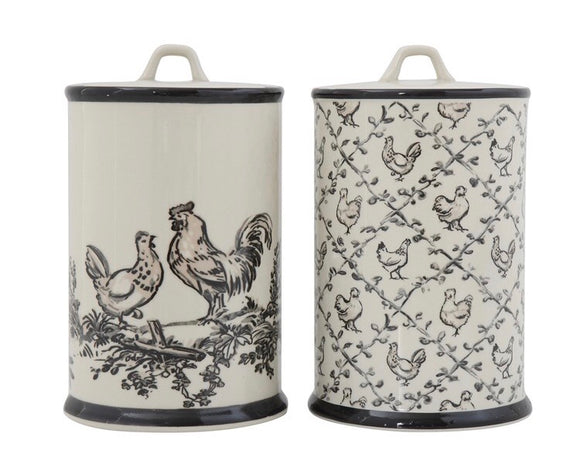 Black & cream stoneware chicken canister set
