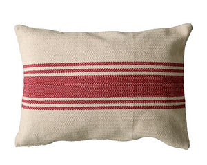 Red, Grain Sack, Pillow, Farmhouse Pillows, Accent Pillow, Lumbar Pillow, Striped, Country Decor, Rustic Decor, Neutral Tan, Beige, Natural, Living Room Pillow Decor, Home Decor, Modern Farmhouse, Seasonal Decor, Seasonal Pillows, JaBella Designs, Creative Co-op