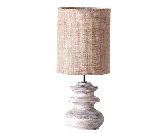 Bleached mango wooden accent table lamp