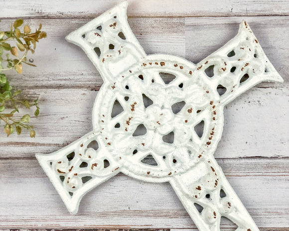 Ornate worn white cross, Wrought iron cross, Wall hanging cross, Shabby chic home decor, Fixer Upper style decor, JaBella Designs, Vintage Farmhouse Finds, Ballard Designs, Murfreesboro