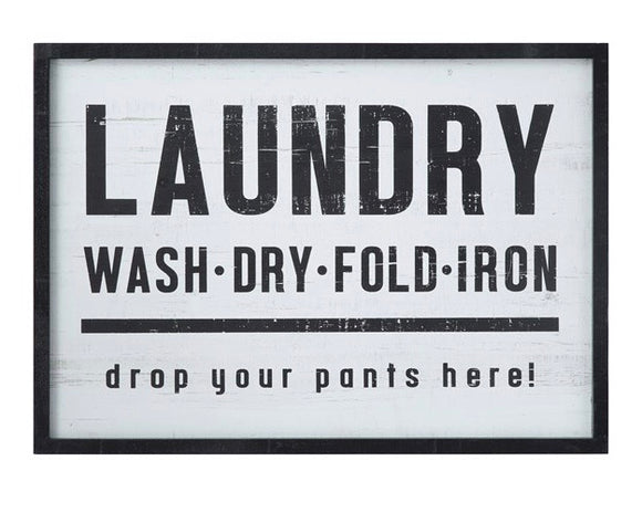 Black & white distressed 'Laundry' sign