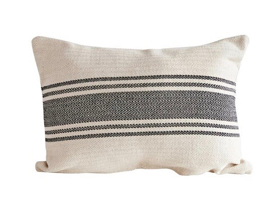 Black grain sack farmhouse accent pillow