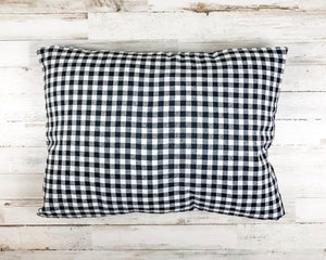Black gingham farmhouse accent pillow