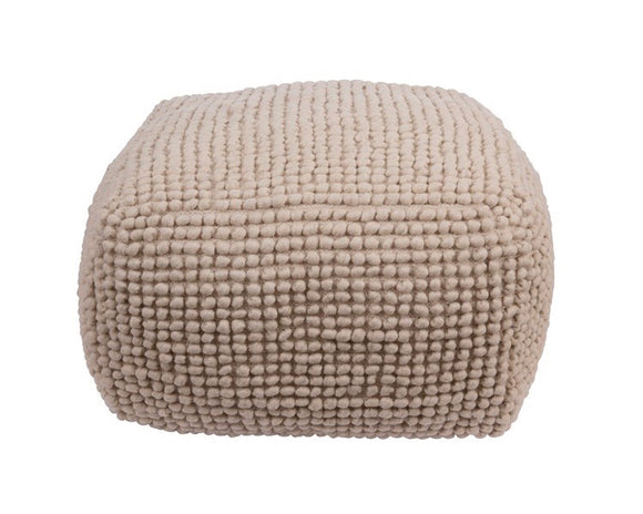 Natural wool & cotton farmhouse square pouf