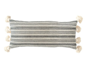 Black striped lumbar pillow with tassels