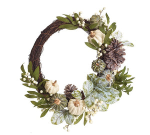 Neutral autumn harvest pumpkin grapevine wreath