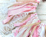 Banner, Pink, Burlap, Lace, Rag tie banner, Banner backdrop, Birthday party, Baby shower, Wedding shower, Shabby chic, Farmhouse decorations, Cottage chic, Etsy, JaBella Designs
