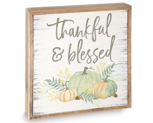 Thankful and Blessed, Autumn Wall Plaque, Fall decorations, Holiday decor, Pumpkins, Orange, Teal, Blue, Neutral, Farmhouse, JaBella Designs