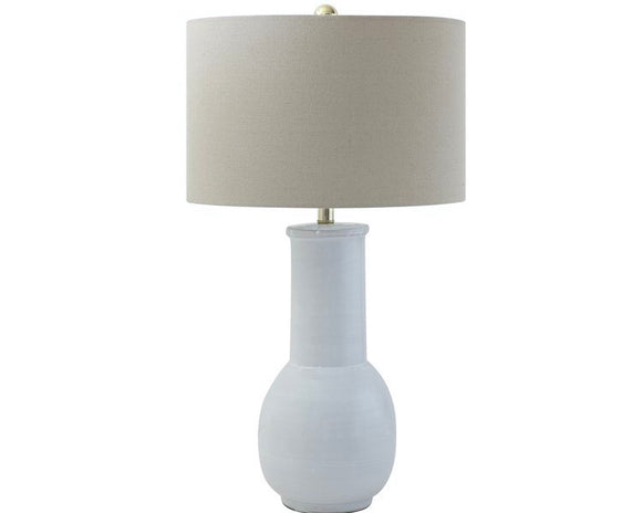 Tall white terra-cotta farmhouse table lamp