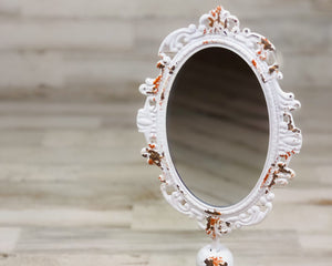 Ornate Mirror, Chippy, White, Distressed, Bathroom Vanity Mirror, Shabby Chic, Cottage Style, Farmhouse Chic, Free-Standing Mirror, Small Mirror, JaBella Designs, CTW Collection, Home Decor