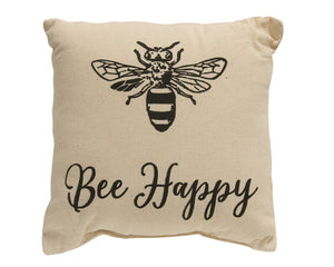Bees, Bumble Bee, Bee Decor, Tan, Black, Pillows, Pillow, Bee Happy, Farmhouse, Country, Home Decor, JaBella Designs, CWI Gifts
