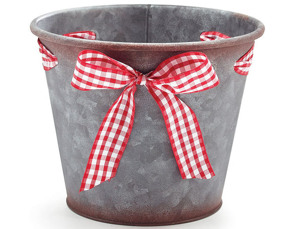 Gingham, Red buffalo check, White, Christmas pot cover, Christmas planters, Holiday decorations, Galvanized metal, Farmhouse, Country Christmas, JaBella Designs
