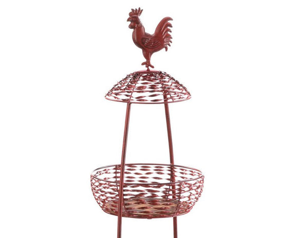 Red rooster baskets, Red metal display stand, Tiered basket stand, Tiered trays, Farmhouse decor, Country kitchen decor, JaBella Designs