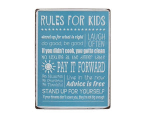 Aqua blue 'Rules for Kids' playroom wall hanging sign plaque