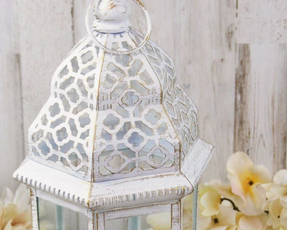 Shabby white distressed ornate lantern