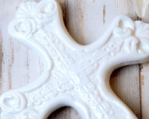 White Cross, Ceramic, Porcelain, Ornate Cross, Decorative Cross, Figurines, Shabby Chic, Cottage Style, Farmhouse Chic, Coastal Farmhouse, Traditional, Christian Decor, Home Decor, Shelf Decor, Mantel Decor, JaBella Designs, Burton and Burton