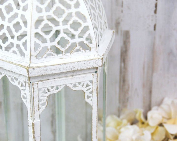 Lantern, Lanterns, Ornate, White, Gold, Distressed, Farmhouse, Shabby Chic, Cottage Style, Lighting, Candle Lanterns, Home Decor, JaBella Designs