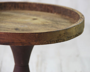Rustic farmhouse brown wooden round pedestal tray