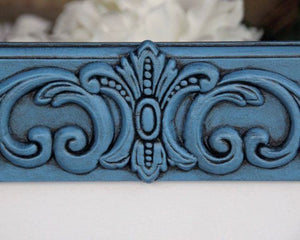 Coastal blue embellished 5x7 wood wall hanging gallery picture frame decor
