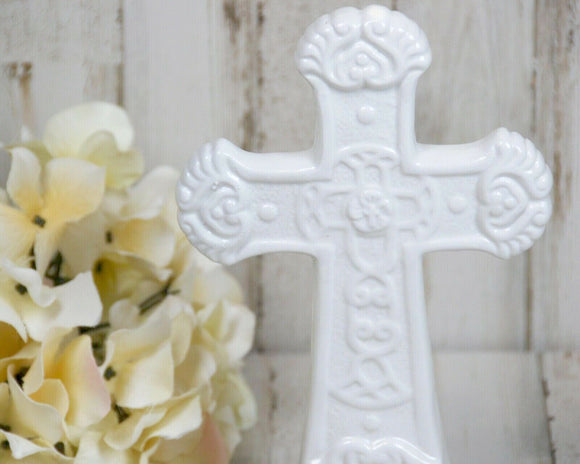 Cottage chic white ceramic cross figurine