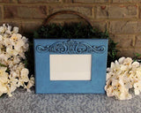 Coastal farmhouse chic blue ornate wooden 5x7 wall collage gallery picture frame for the home