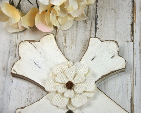 Antique white and ivory burlap handmade farmhouse wall cross