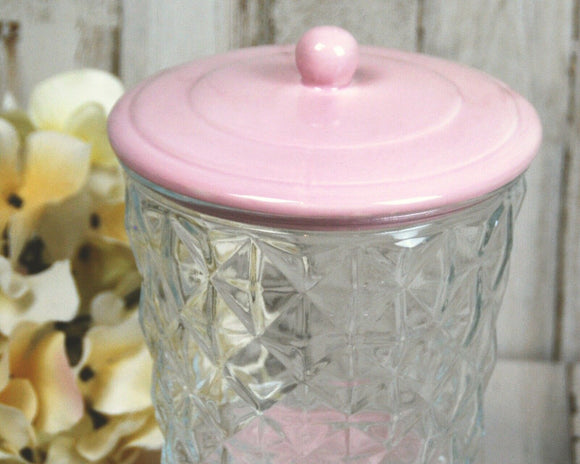 Pink pedestal glass candy jar