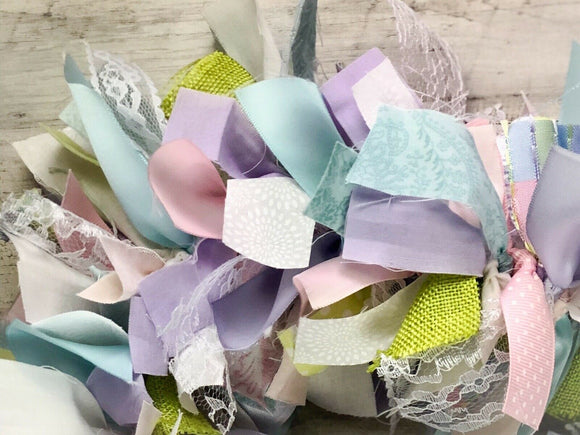 Pastel Easter lavender, pink, robin's egg blue, white, lace, fabric garland