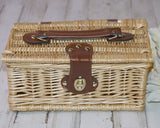 Natural willow & leather lidded storage basket