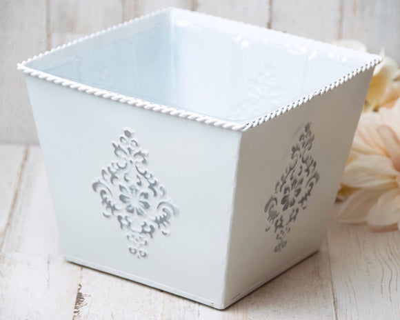 White & silver cottage chic embossed tin planter