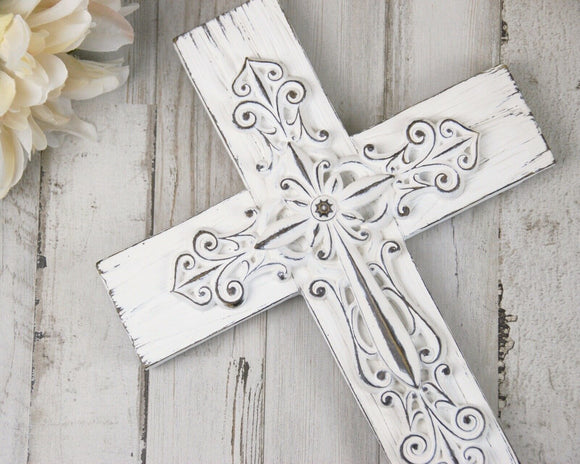 Ornate shabby distressed white wall cross