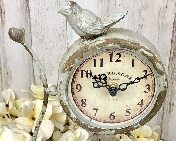 Pale gray blue songbird desk clock for the home