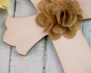 Blush pink and brown hand-painted wooden nursery wall cross for the home