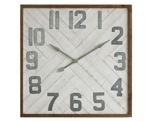 Extra large wall clock, Wooden farmhouse clocks, Galvanized metal with worn white wood background, Living room clocks, Fixer Upper style, JaBella Designs