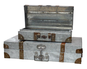 Galvanized metal suitcase storage set